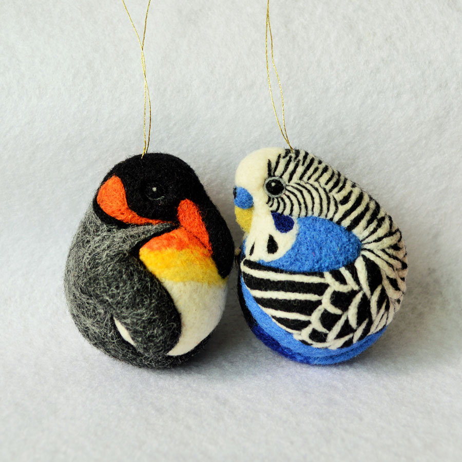 Beautiful Felted King Penguin and Budgie