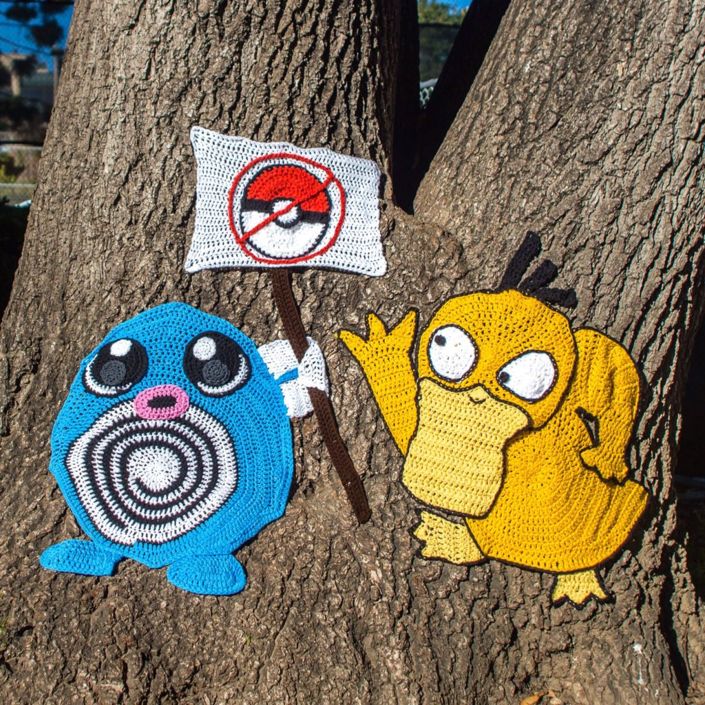 The Pokémon Poke Back in San Mateo! Catch a New Yarn Bomb From Knits For Life ... Go Go Go!