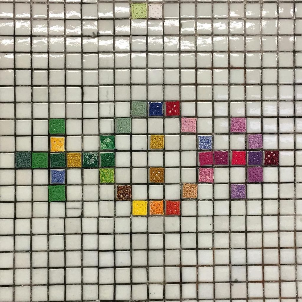 Micro Yarn Bombing For Gender Equality at Metro Bilbao in Madrid, Spain