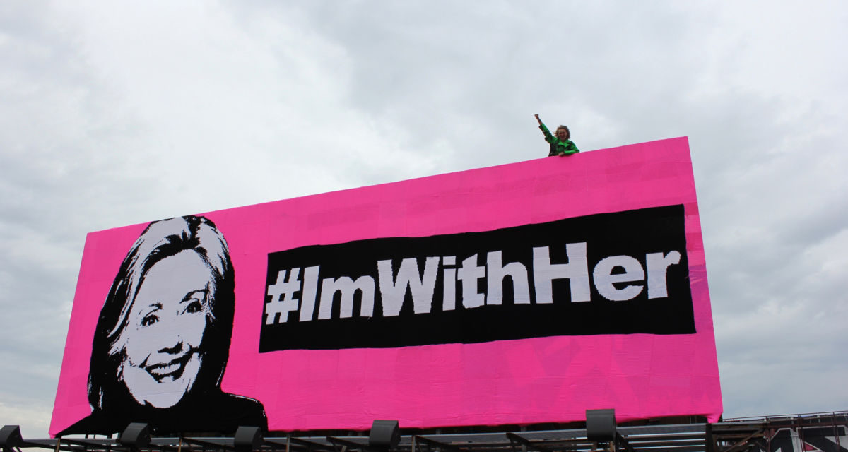 Olek's Crocheted Hillary Clinton Billboard – #ImWithHer