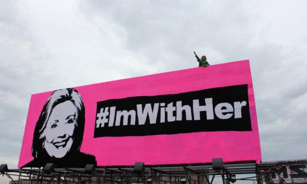 Olek's Crocheted Hillary Clinton Billboard – #ImWithHer