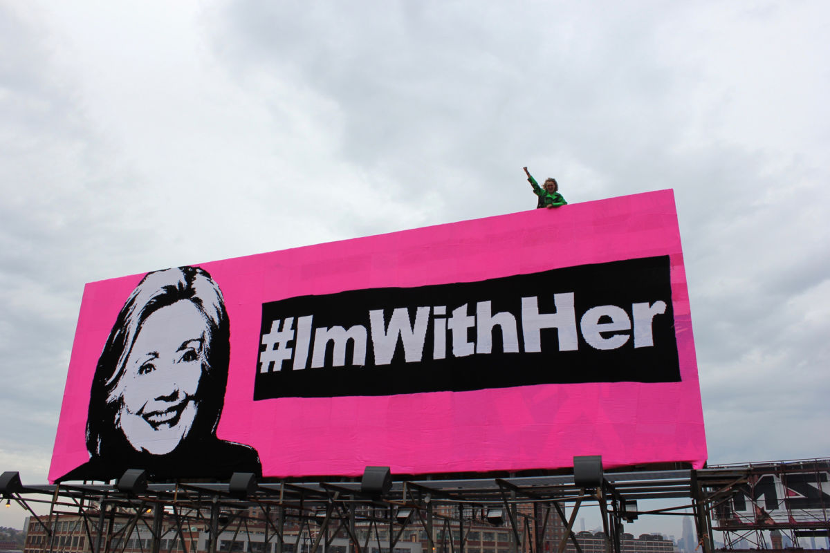 Olek's Crocheted Hillary Clinton Billboard - #ImWithHer
