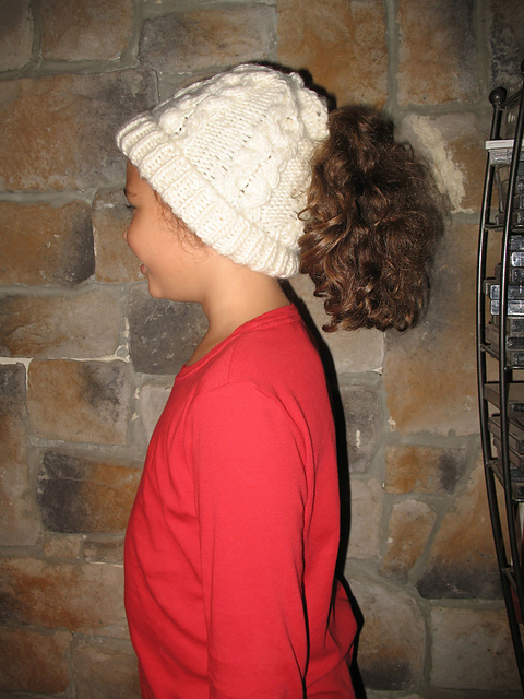 de9dfa430fc XO Cabled Ponytail Hat by Jackie Chovanes. Ponytail Pi Hat by Katherine  Lane Hughes
