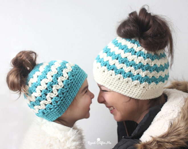 The Best Free Crochet Ponytail Hat Patterns Aka Messy Bun Beanies Best Ponytail Beanie Crochet Pattern