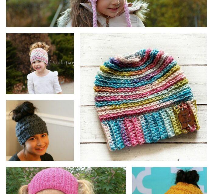 The Best Ponytail Hat Patterns (aka Messy Bun Beanies) for Little Girls!