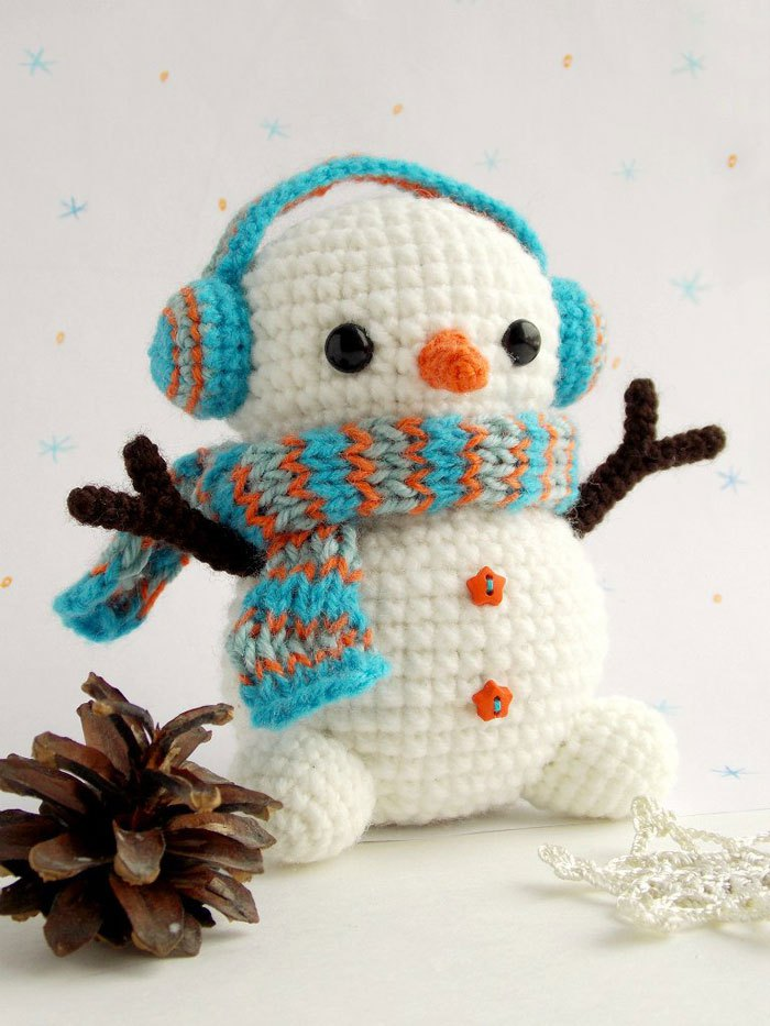 Snowmen Amigurumi Come From Yarn, Unassembled - Want to Crochet One?