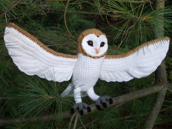 "Beautiful Barn Owl With 21"" Wing Span! Crochet Pattern Available …"