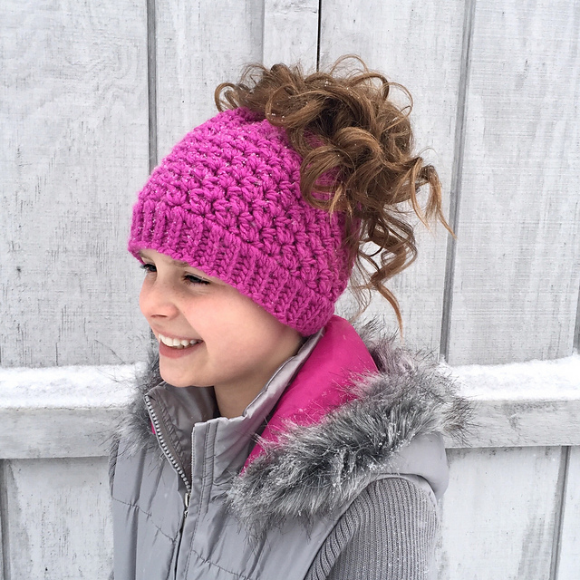 Kaycee Ponytail or Bun Beanie Hat by Crochet by Jennifer – Crochet Pattern   4.95 via Ravelry c27d3badb6d