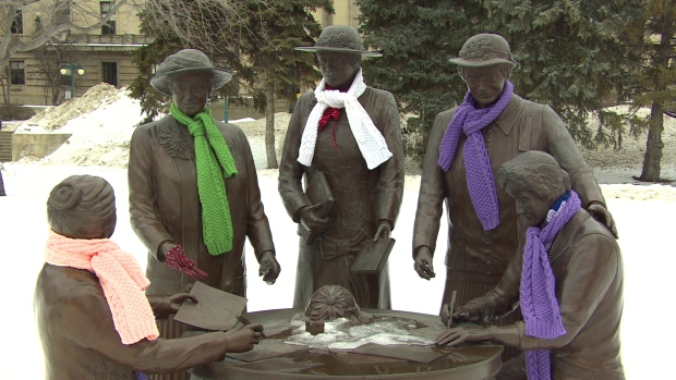 Honouring The Famous Five - A Yarn Bomb To Celebrate Women's Right to Personhood