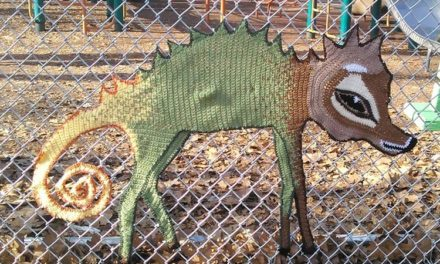 Philadelphia Yarn Bomb Sighting! Crochet Chameleon-Wolf-Deer Spotted in Starr Garden Park …