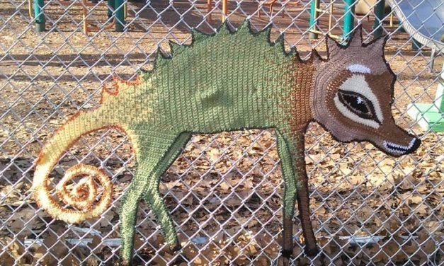 Philadelphia Yarn Bomb Sighting! Crochet Chameleon-Wolf-Deer Spotted in Starr Garden Park …