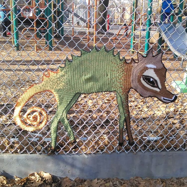 Philadelphia Yarn Bomb Sighting! Crochet Chameleon-Wolf-Deer Spotted in Starr Garden Park
