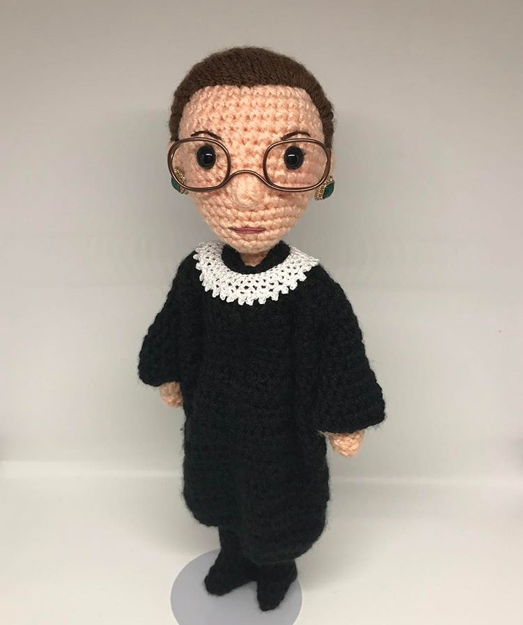 Get a Ruth Bader Ginsburg Amigurumi Doll - 'The Notorious RBG Amigurumi' - Crocheted by Tobey King