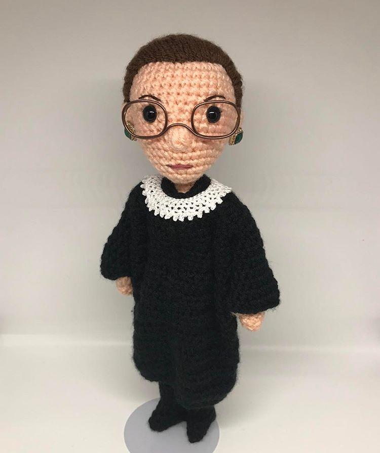 Get a Ruth Bader Ginsburg Amigurumi Doll - 'The Notorious RBG Amigurumi' - Crocheted by Tobey King