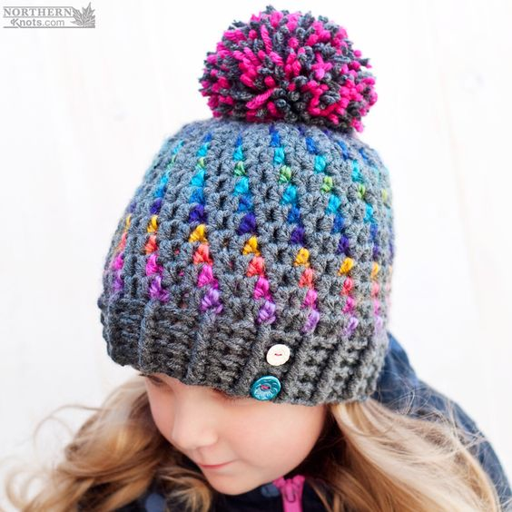 UPDATED: Stunning Northern Lights Pom Pom Hat – Crochet Pattern from Northern Knots Canada