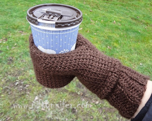 How to Crochet a Beverage Cozy Mitten - So Unique and the Pattern is Free!