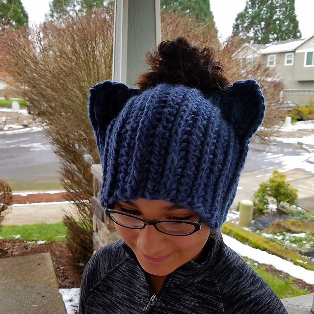 Available in Knit & Crochet, It's 2 Hats in 1: a Messy Bun Beanie That Doubles as a Pussy Hat Project ...