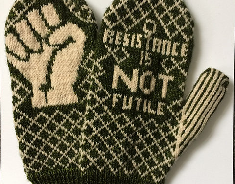 """Peace"" de Resistance Mittens by Bristol Ivy"