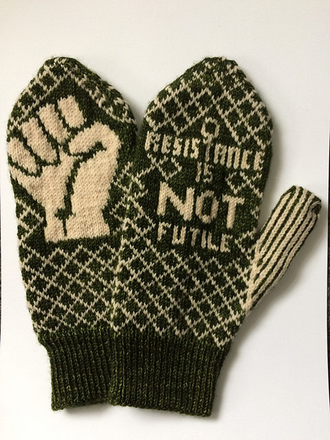Knitted 'Peace' de Resistance Mittens by Bristol Ivy