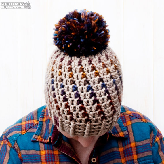 Stunning Northern Lights Pom Pom Hat - Crochet Pattern from Northern Knots Canada