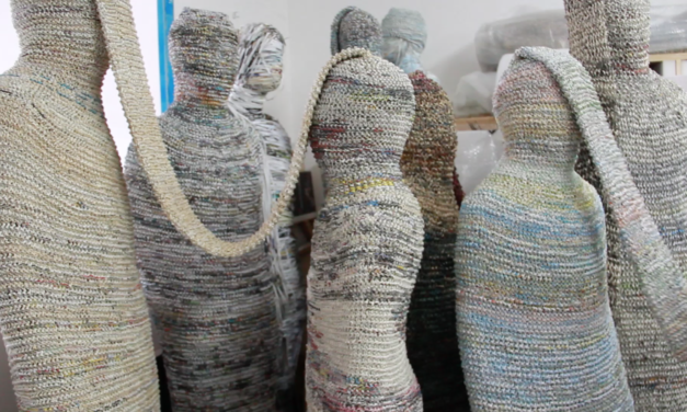 She Knits Books, Magazines, Diaries, and Maps Into Woven Sculptures and Dresses