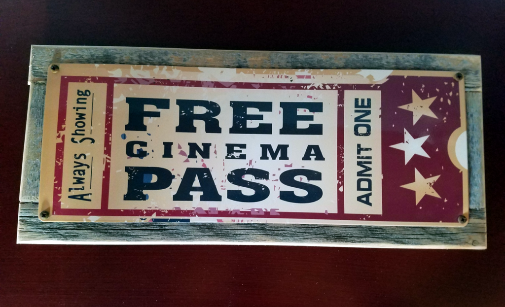 Free Cinema Pass Metal Sign From Homebody Accents