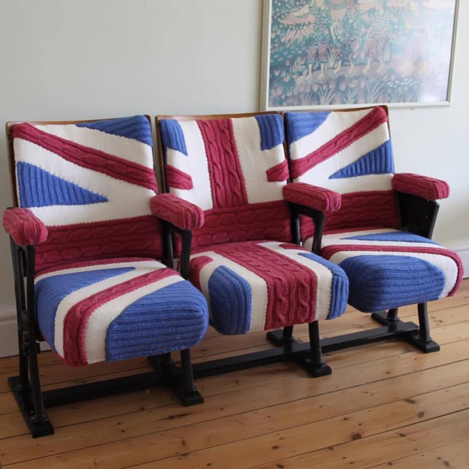 Union Jack Cinema Seats Designed and Knit By Melanie Porter