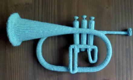 Katie Boyette's Knitted Blue Flugelhorn