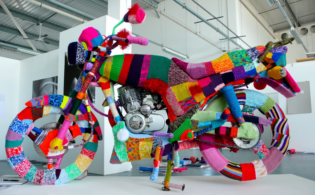 Kate Corbin's Colorfully Yarn Bombed Motorcycle
