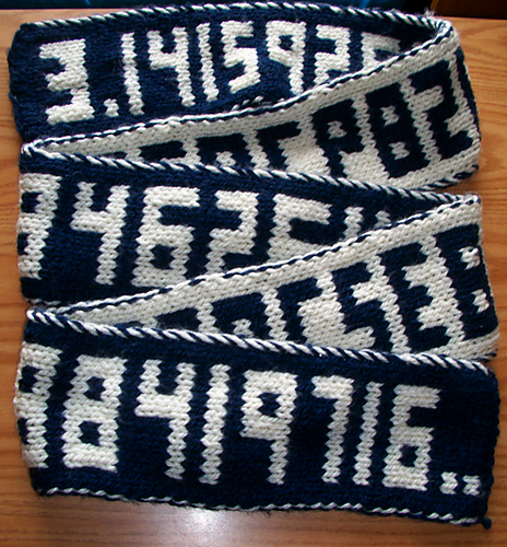 Happy Pi Day 2017! Now Make This Doube-Knit Pi Scarf, Would Ya? It Keeps Going and Going …