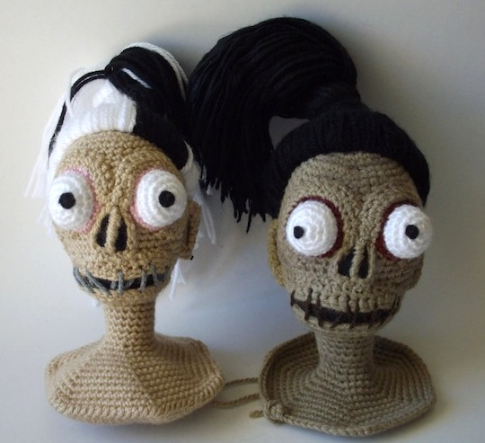 Crochet the Shrunken Head Guy from Beetlejuice and His Bride Too! FREE Patterns ...