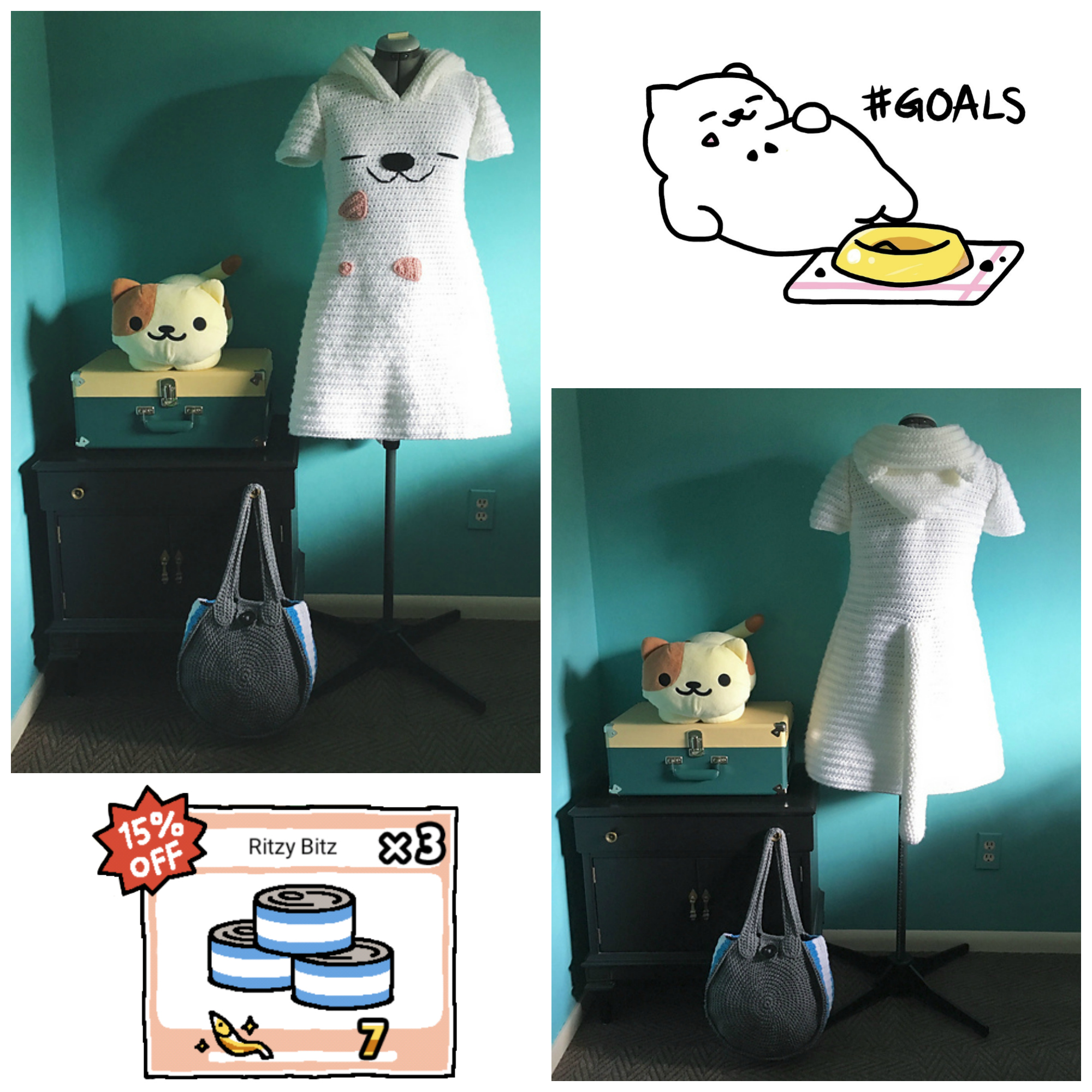 DianeQ's Neko Atsume Crochet Cosplay Featuring Tubbs and a Ritzy Bitz Bag!