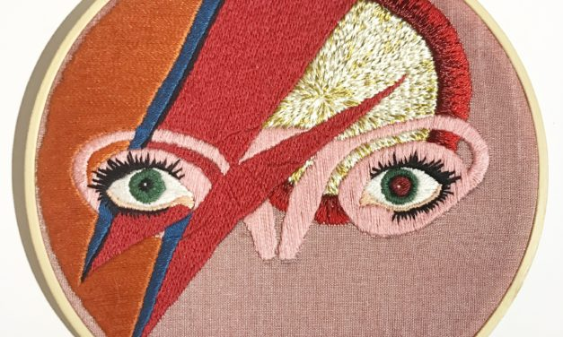 "Embroidered Aladdin Sane ""Bovaries"" By Jess De Wahls Of Big Swinging Ovaries"