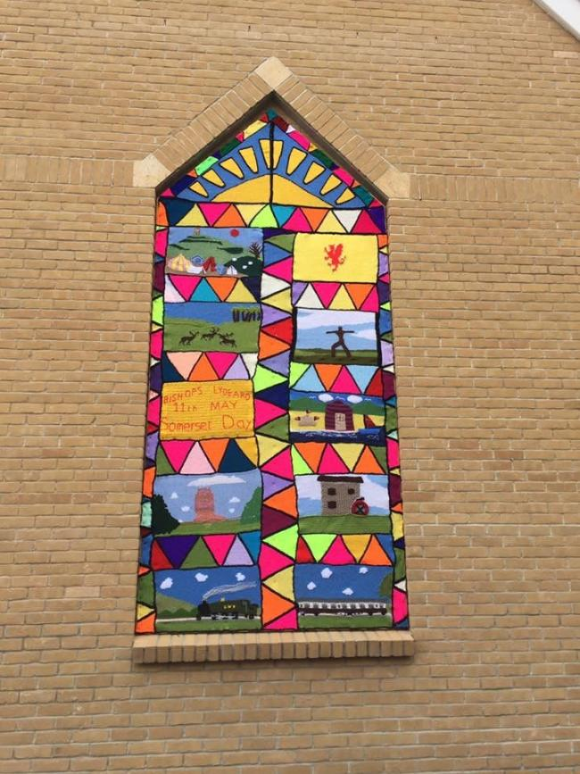 Church Window Yarn Bombed To Look Like Stained Glass For Somerset Day - Simply Magical!