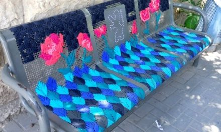 She Used Old Bathing Suits To Embroider These Street Benches – Genius!