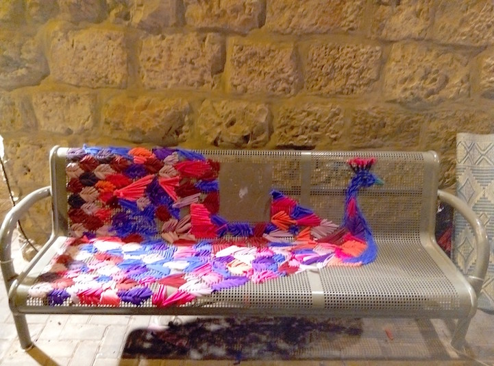 She Used Old Bathing Suits To Embroider These Street Benches - Genius!