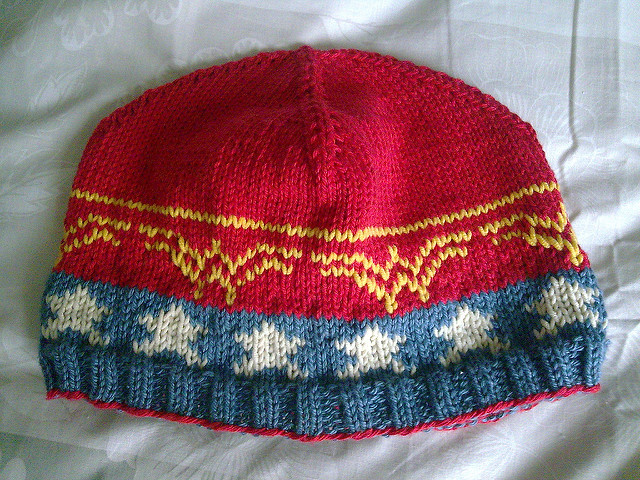"Knit a ""Wonder Beanie"" For The Wonder Woman Fans In Your Life – FREE Pattern!"