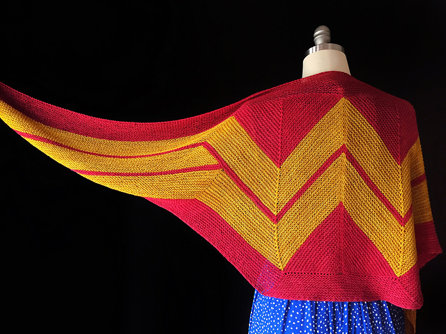 Must-Make Wonder Woman Wrap by Carissa Browning - the Knit Pattern is FREE!