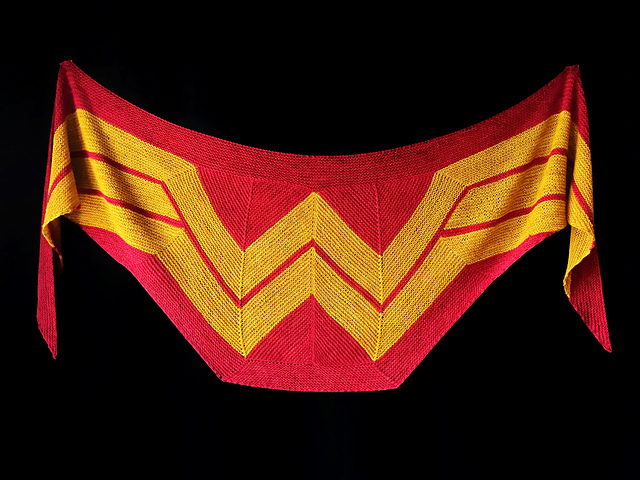 Must-Make Wonder Woman Wrap by Carissa Browning – the Knit Pattern is FREE! Alerts!