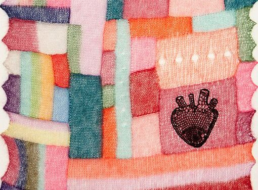 'Within You' – Beautiful Knit Mohair Piece Mounted On Canvas By Kat Coyle – It's Got Heart!