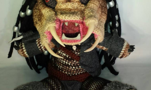 She Crocheted an 18-Inch Predator Amigurumi With Glow-In-The-Dark Teeth!