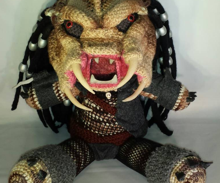 She Crocheted an 18-Inch Predator Amigurumi With Glow-In-The-Dark Teeth!