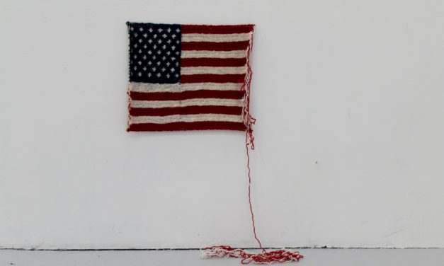 "Unraveling Knitted American Flag, ""When Donald J. Trump Won the American Election"" – By Danish Artist Maria Victoria Høvring Høeg"