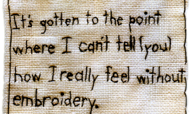 """How I REALLY Feel."" Embroidered Fabric By Iviva Olenick"