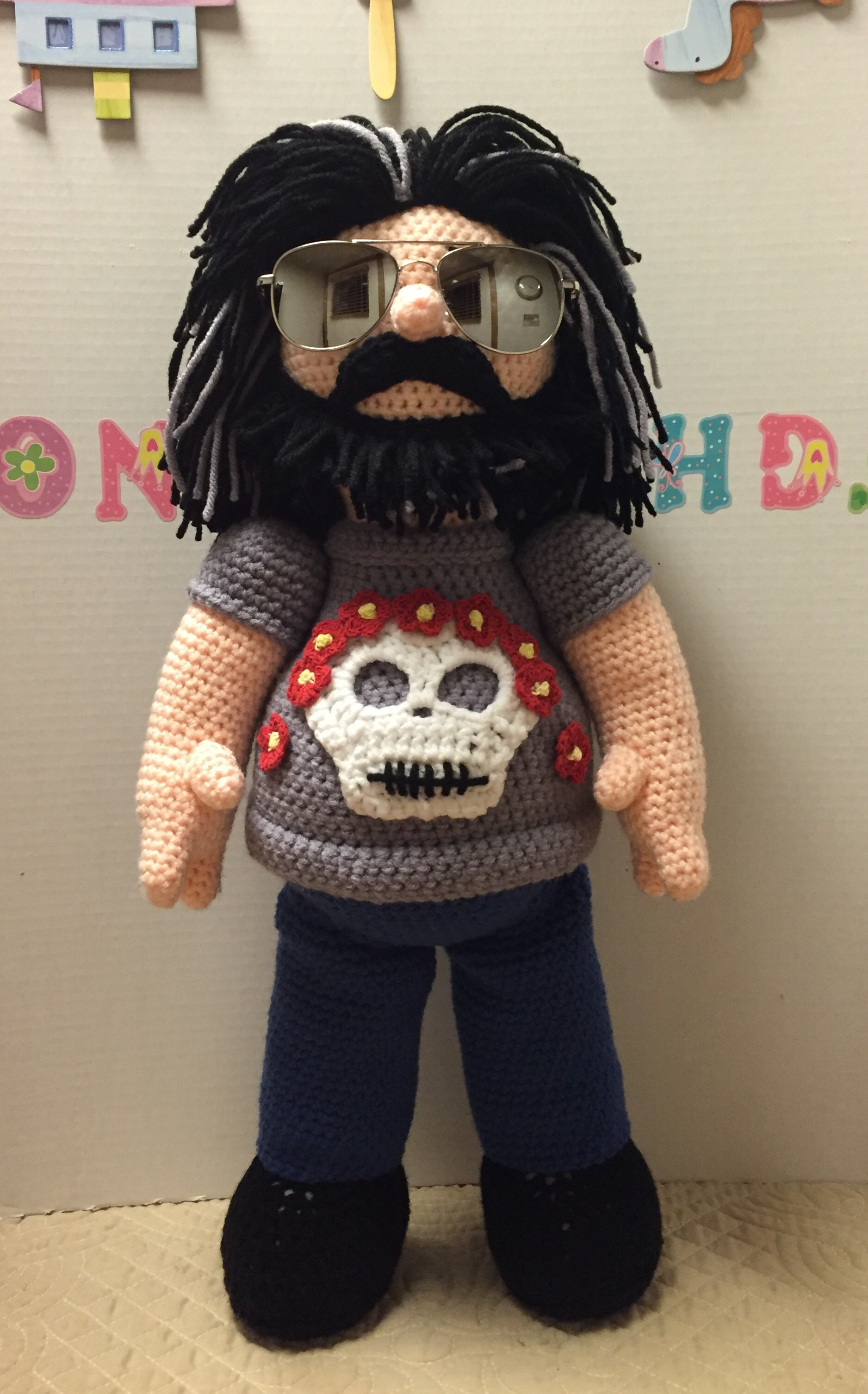 She Crocheted a Jerry Garcia Amigurumi For Family Friend Who's a Deadhead!