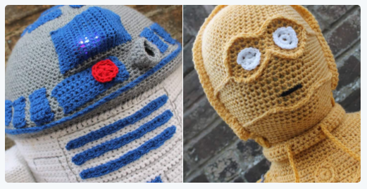 Amazing Life-Sized C3P0 & R2D2, Crocheted For Star Wars-Themed Yarn Bombing!