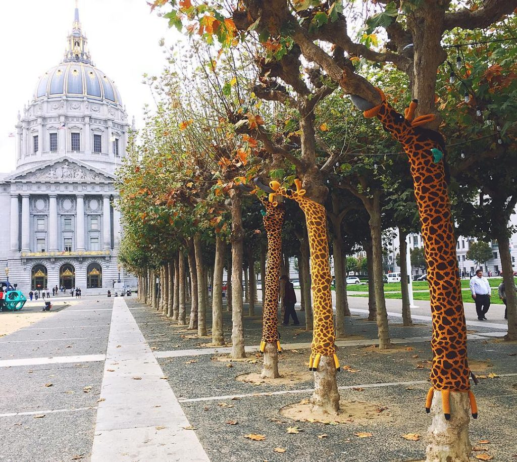 Giraffe Yarn Bombs Have Taken Over the Civic Center Commons in San Francisco, California