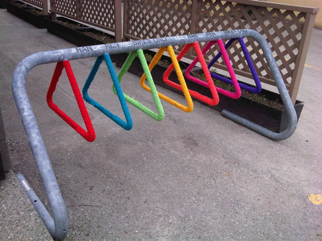 Rainbow Bike Rack Yarn Bomb