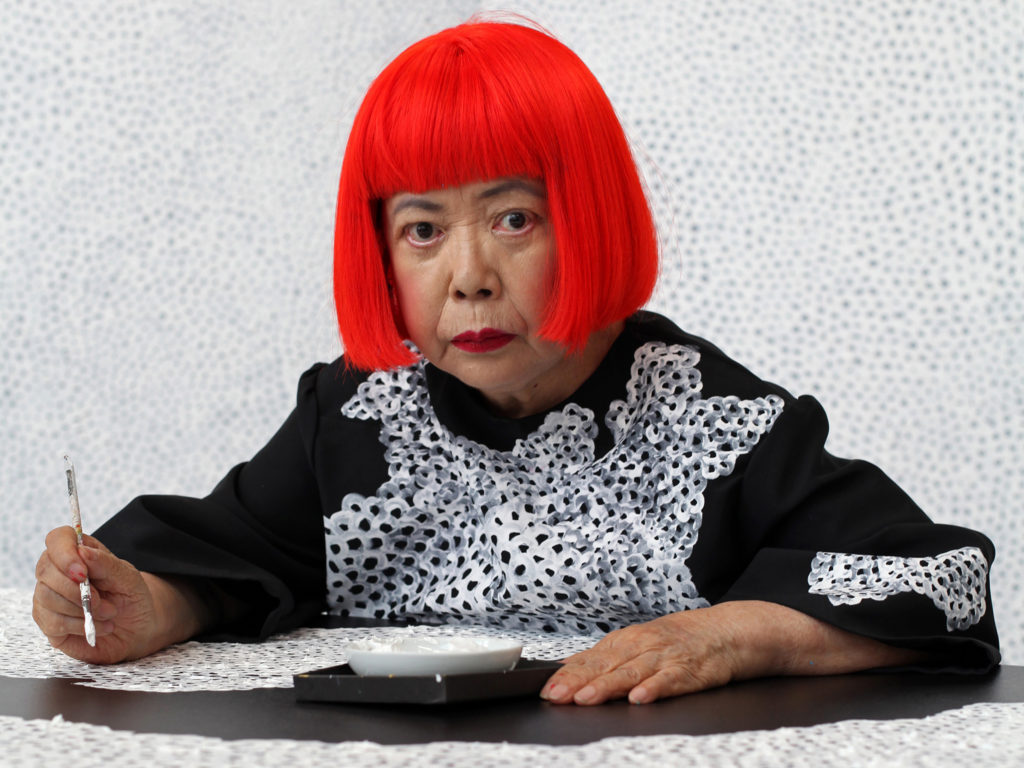 This Crochet Wig Reminds Me of Yayoi Kusama's Bright Red Bob ... and Halloween is Coming You Know ...