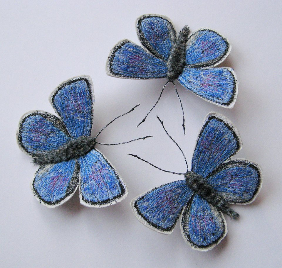 Hand Stitched & Freehand Machine Embroidered Butterflies and Moths By Lisa Toppin of Agnes & Cora